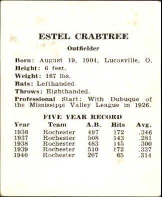 1941 Cardinals W754 #5 Estel Crabtree back image
