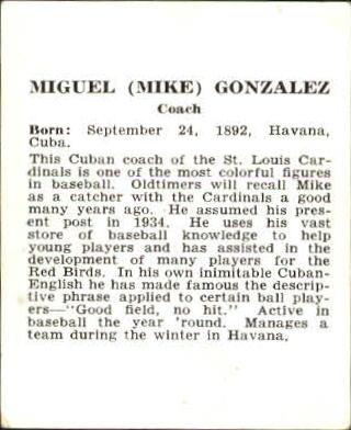 1941 Cardinals W754 #8 Mike Gonzalez CO back image