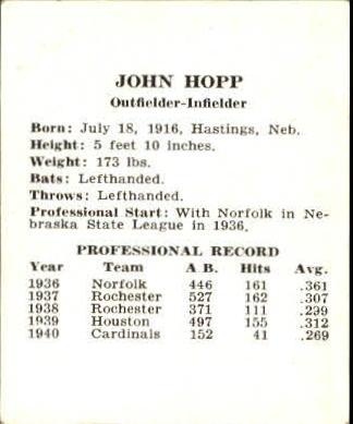 1941 Cardinals W754 #10 John Hopp back image