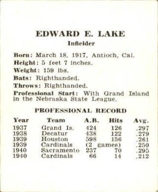 1941 Cardinals W754 #13 Eddie Lake back image