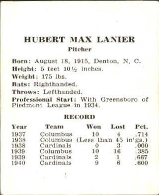 1941 Cardinals W754 #14 Max Lanier back image