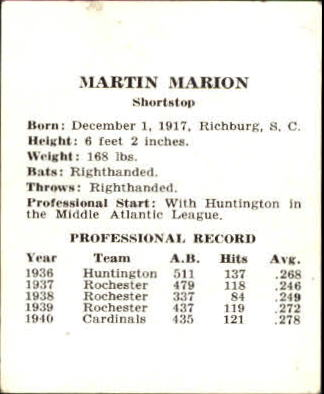1941 Cardinals W754 #16 Marty Marion back image