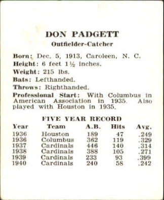 1941 Cardinals W754 #21 Don Padgett back image