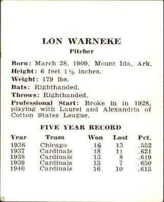 1941 Cardinals W754 #28 Lon Warneke back image