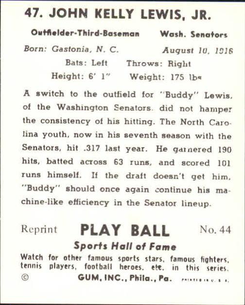 1941 Play Ball #47 Buddy Lewis back image
