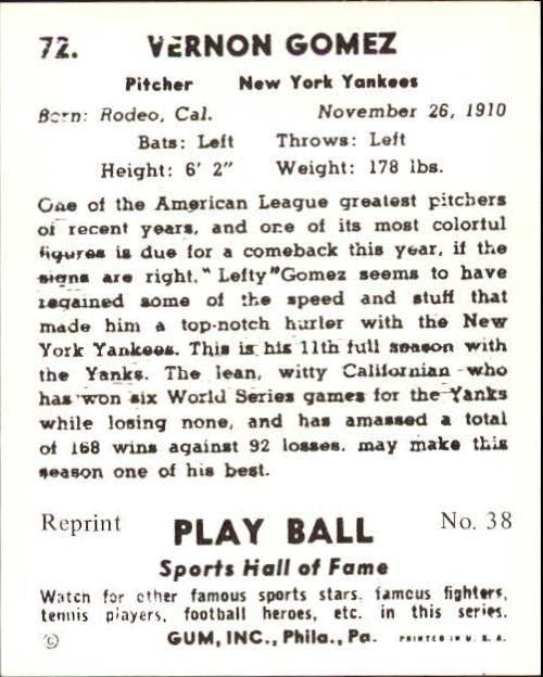 1941 Play Ball #72 Lefty Gomez back image