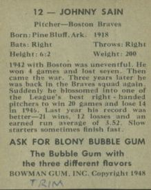 1948 Bowman #12 Johnny Sain RC back image