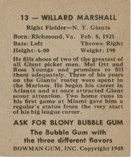 1948 Bowman #13 Willard Marshall SP RC back image