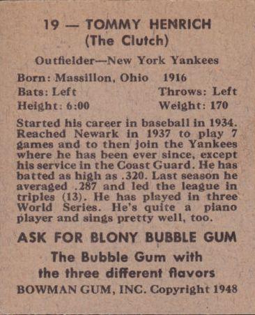 1948 Bowman #19 Tommy Henrich back image