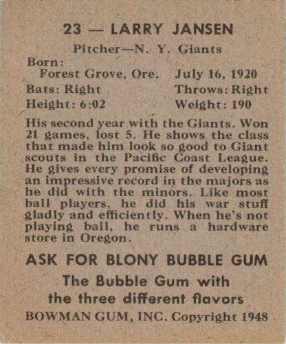 1948 Bowman #23 Larry Jansen RC back image