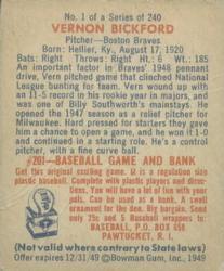 1949 Bowman #1 Vern Bickford RC back image