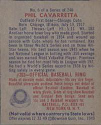 1949 Bowman #6 Phil Cavarretta RC back image