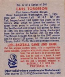 1949 Bowman #17 Earl Torgeson RC back image