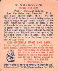 1949 Bowman #27 Bob Feller back image