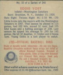 1949 Bowman #32 Eddie Yost RC back image