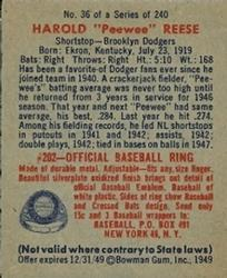1949 Bowman #36 Pee Wee Reese back image