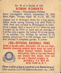 1949 Bowman #46 Robin Roberts RC back image