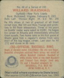 1949 Bowman #48 Willard Marshall back image