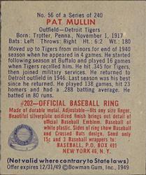 1949 Bowman #56 Pat Mullin RC back image