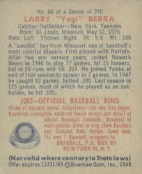 1949 Bowman #60 Yogi Berra back image