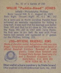 1949 Bowman #92 Willie Jones RC back image