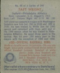 1949 Bowman #96 Taft Wright back image