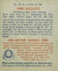 1949 Bowman #98A Phil Rizzuto NNOF(no player name on front) back image