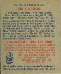 1949 Bowman #101 Sid Gordon back image