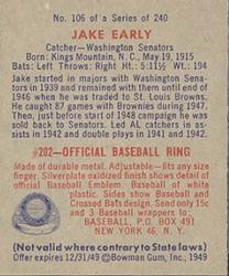 1949 Bowman #106 Jake Early RC back image