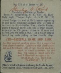1949 Bowman #135 Stan Rojek RC back image