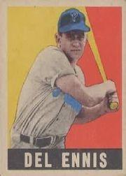 1949 Leaf #49 Del Ennis RC
