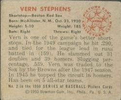 1950 Bowman #2 Vern Stephens back image