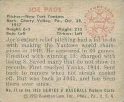 1950 Bowman #12 Joe Page back image