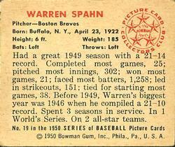 1950 Bowman #19 Warren Spahn back image