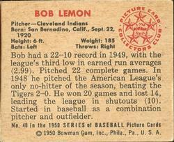 1950 Bowman #40 Bob Lemon back image