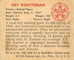 1950 Bowman #42 Art Houtteman RC back image