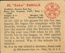 1950 Bowman #45 Al Zarilla back image