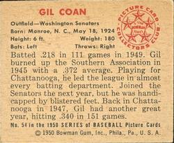 1950 Bowman #54 Gil Coan back image