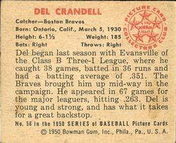 1950 Bowman #56 Del Crandall RC back image