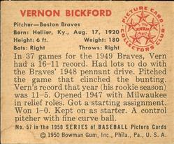 1950 Bowman #57 Vern Bickford back image