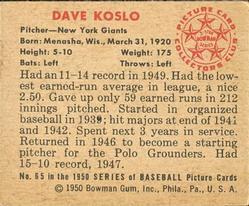 1950 Bowman #65 Dave Koslo back image