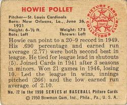 1950 Bowman #72 Howie Pollet back image