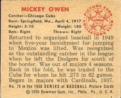 1950 Bowman #78 Mickey Owen back image