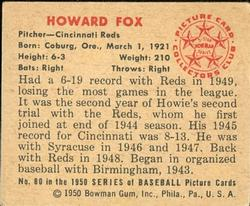 1950 Bowman #80 Howard Fox RC back image