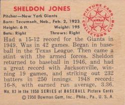1950 Bowman #83 Sheldon Jones back image