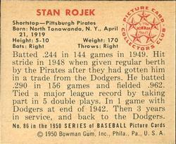 1950 Bowman #86 Stan Rojek back image