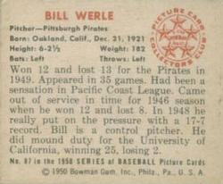 1950 Bowman #87 Bill Werle RC back image