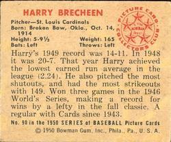 1950 Bowman #90 Harry Brecheen back image