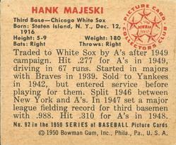 1950 Bowman #92 Hank Majeski back image
