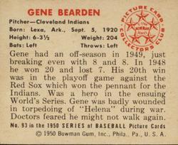 1950 Bowman #93 Gene Bearden back image